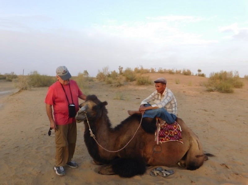 Guests at the yurt camp have the option to take a camel ride in the Kyzyl Kum Desert. Photo credit: Abdu Samadov