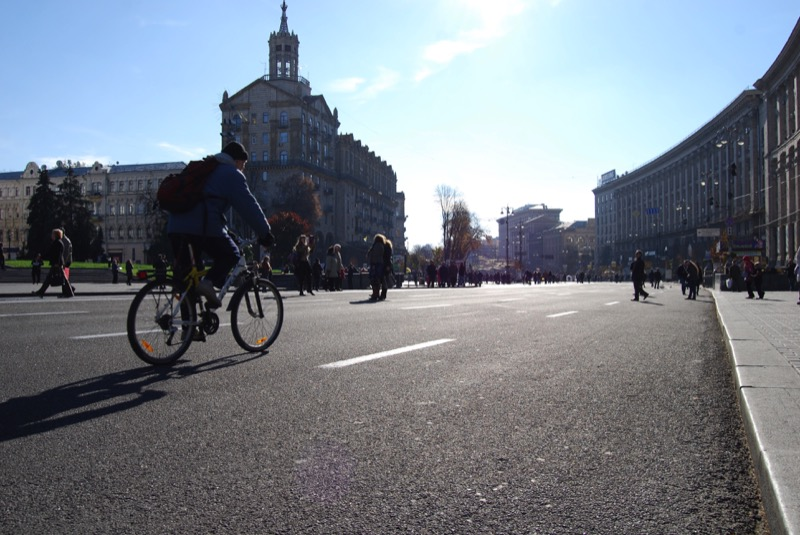 Kiev's popular Khreshchatyk Street is packed on weekends and holidays, when it's closed to traffic and becomes a pedestrian-only thoroughfare. Photo credit: Jered Gorman
