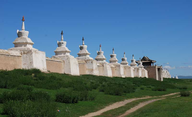 108 stupas surround Erdene Zuu Monastery. Photo credit: Douglas Grimes