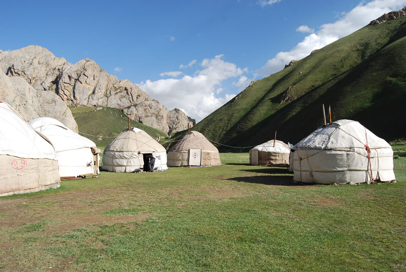 Camp out in the Kyrgyz highlands in traditional yurts, like the ones shown here in Tash Rabat. Photo credit: Douglas Grimes