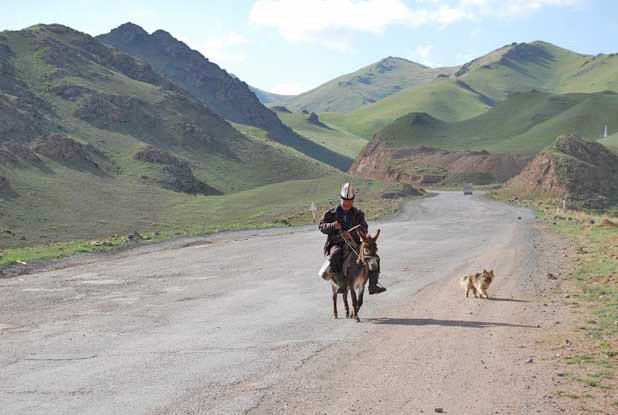 Donkeys are sometimes still used to travel the high roads of Kyrgyzstan. Photo credit: Douglas Grimes