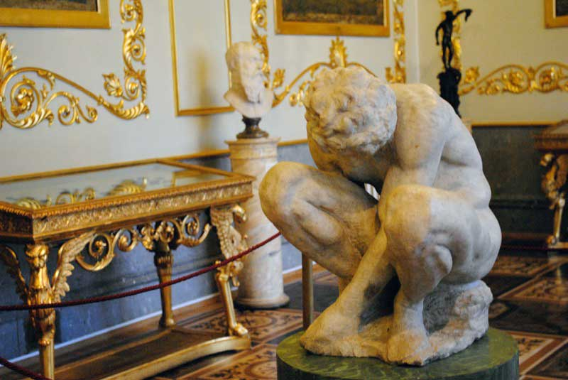 Crouching Boy by Michelangelo on display in the Hermitage. Photo credit: Jenelle Birnbaum