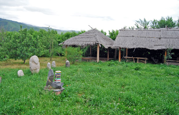 There's a homey, rural feel to this Chon-Kemin guesthouse, complete with stone bal-bals. Photo credit: Douglas Grimes