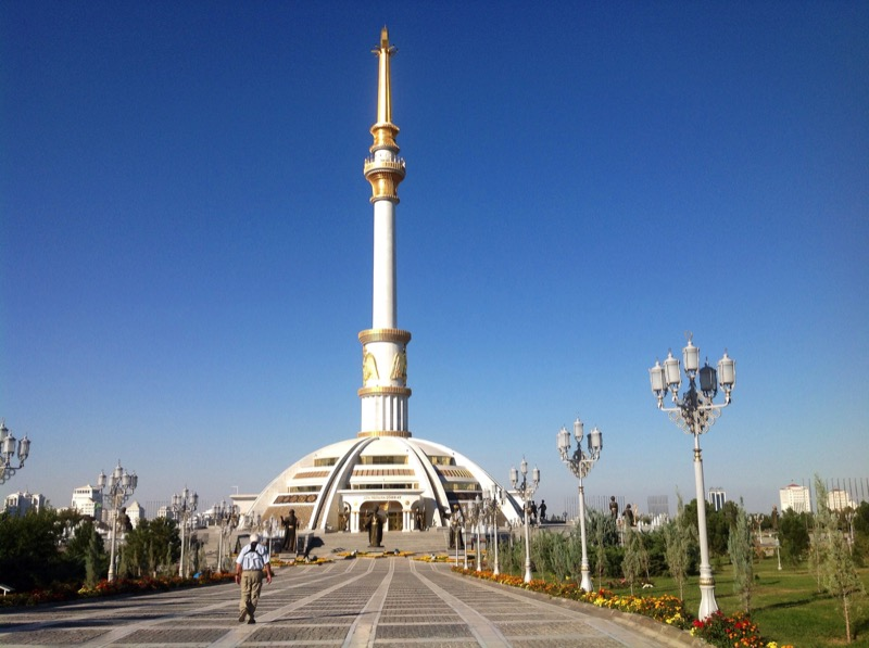 The Independence Monument in Ashgabat's Independence Park was inspired by traditional Turkmen tents and headgear (Ashgabat, Turkmenistan). Photo credit: Michel Behar