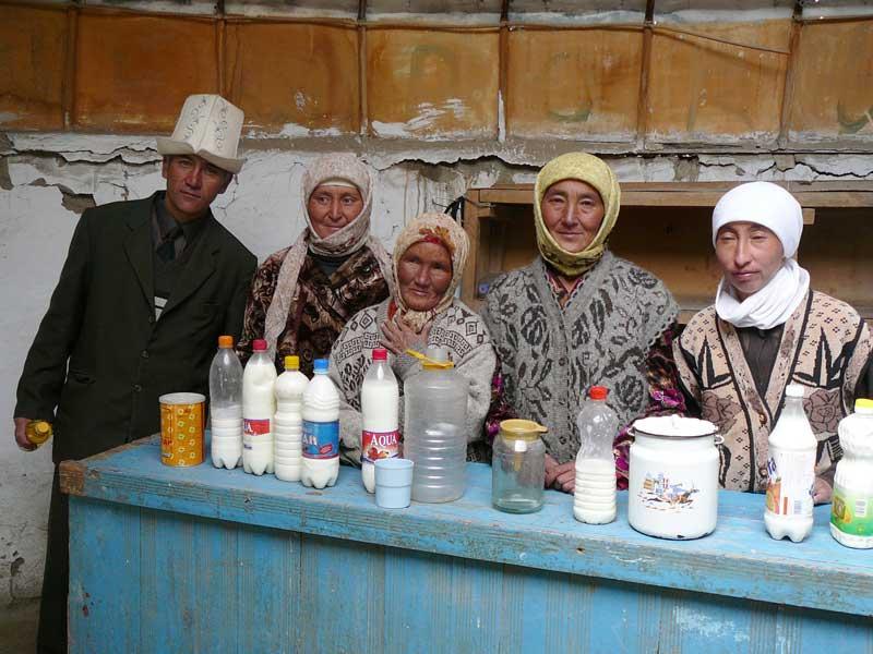 Milk merchants at the Murghab market. Photo credit: Jake Smith