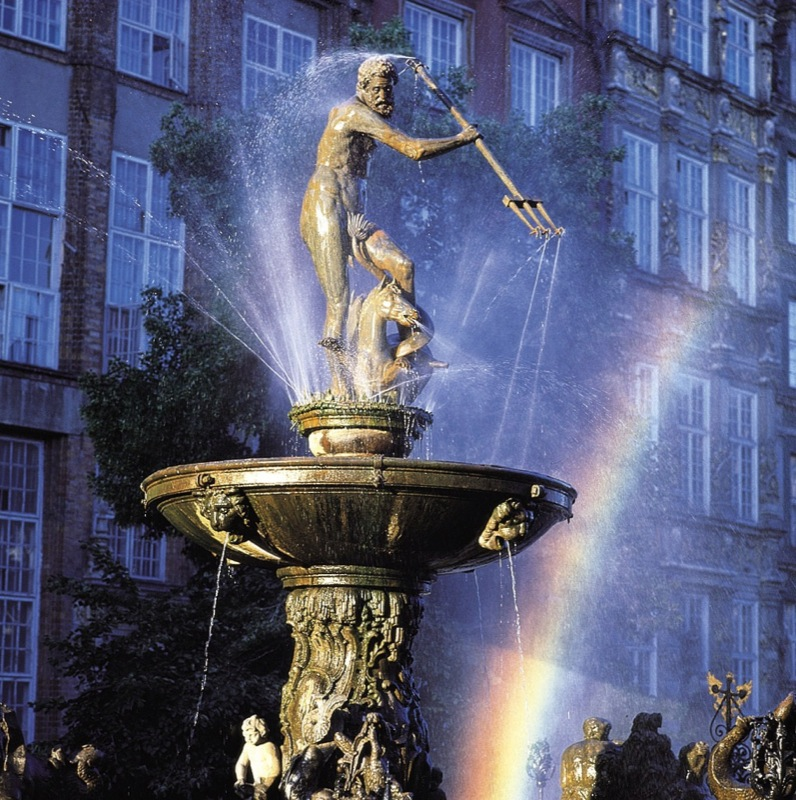 Neptune's Fountain, in the center of Gdansk, was first erected in 1549, before being converted into a fountain in 1633. Photo credit: Polish National Tourist Board