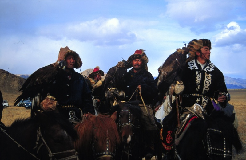 Eagle Hunters on Race Field, Mongolia. Photo credit: Nomadic Expeditions
