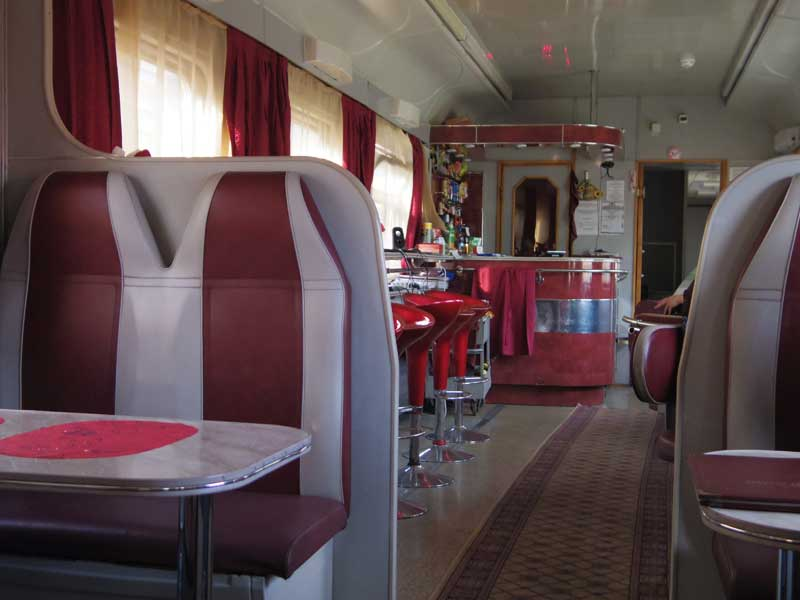 Dining Car aboard a regularly scheduled Russian Railways train. Photo credit: Devin Connolly