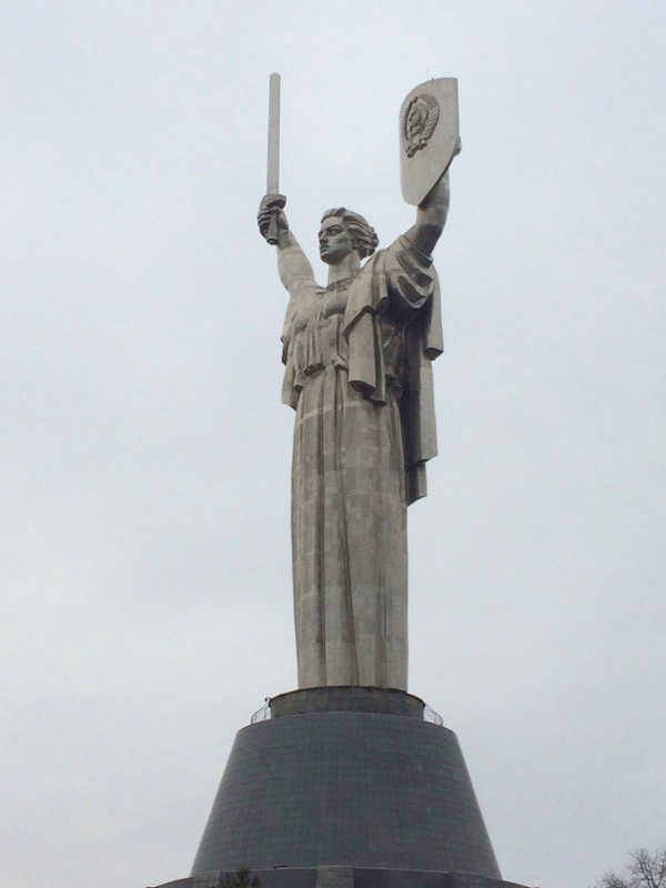 "The ""Nation's Mother"" Monument, or Rodyna Mat, stands 330 feet tall over the Kiev skyline — just several feet taller than the Statue of Liberty in New York. Photo credit: Jessica Clark"