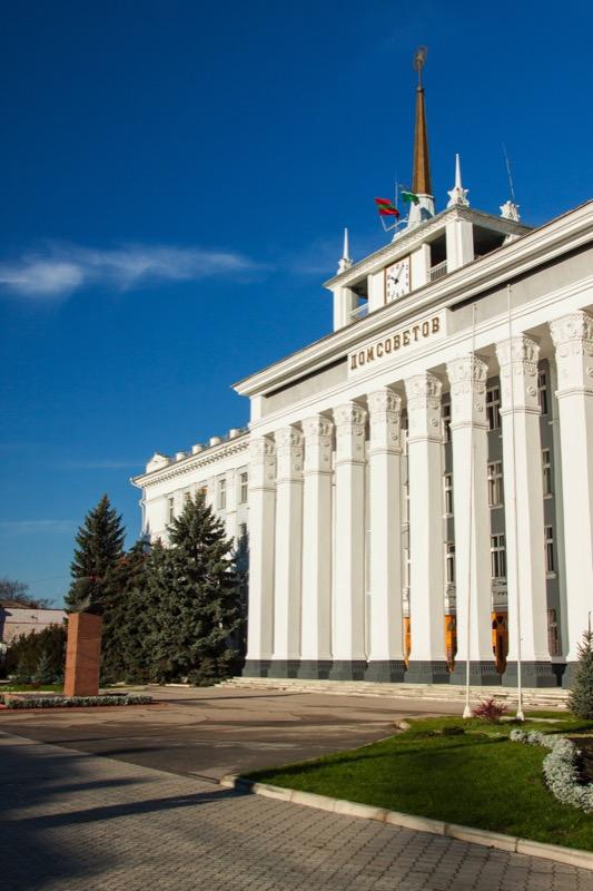 "The Dom Sovetov, or ""House of Soviets,"" is the city hall in Transdniester's capital city, Tiraspol. Photo credit: Dima Radu"