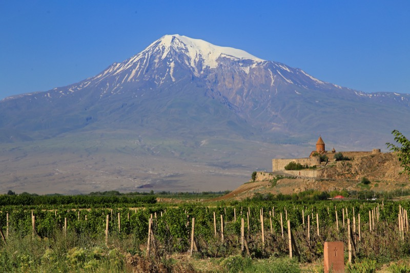 Majestic Mt. Ararat towers behind the monastery of Khor Virap (Armenia). Photo credit: Ann Schneider