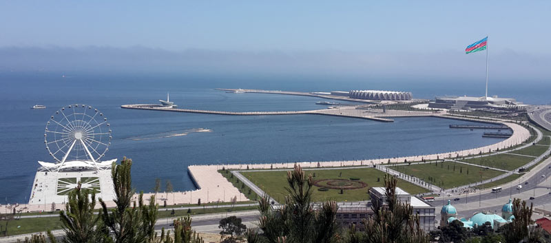 A birds-eye view of the Caspian Sea off Baku. Photo credit: Inga Belova