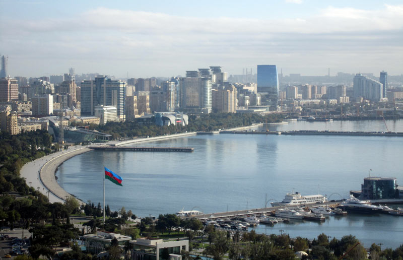 A panoramic view of the Bay of Baku which leads to the Caspian Sea. Photo credit: Inga Belova