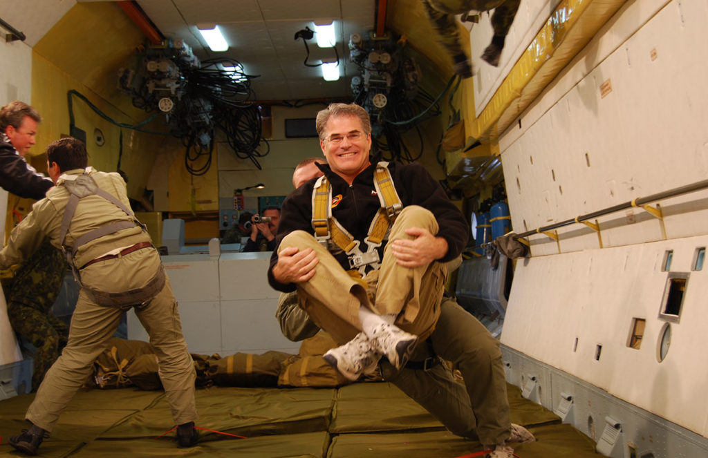 President and Founder of MIR Corporation, Douglas Grimes, experiencing weightlessness on the Russian Zero-G cosmonaut training flight. Photo credit: Douglas Grimes