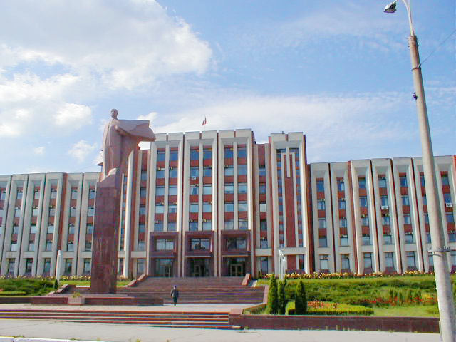 Monumental government building in Transdniester, Moldova. Photo credit: Paul Schwartz