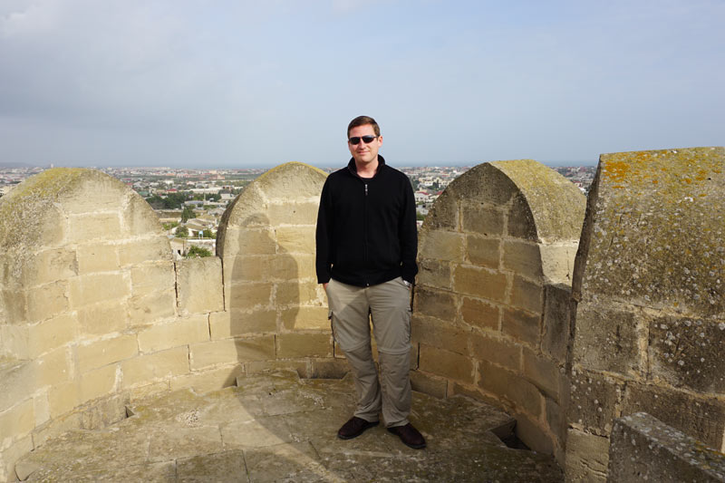Jake Smith at one of his favorite old watchtowers, Mardakan Fortress, on the Absheron Peninsula near Baku
