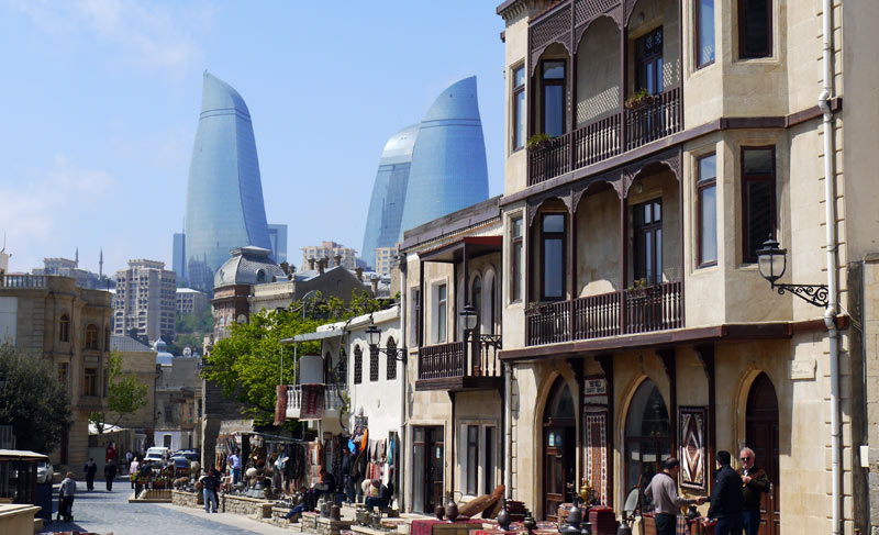Baku's Old Town with a backdrop of new modern construction. Photo credit: Martin Klimenta