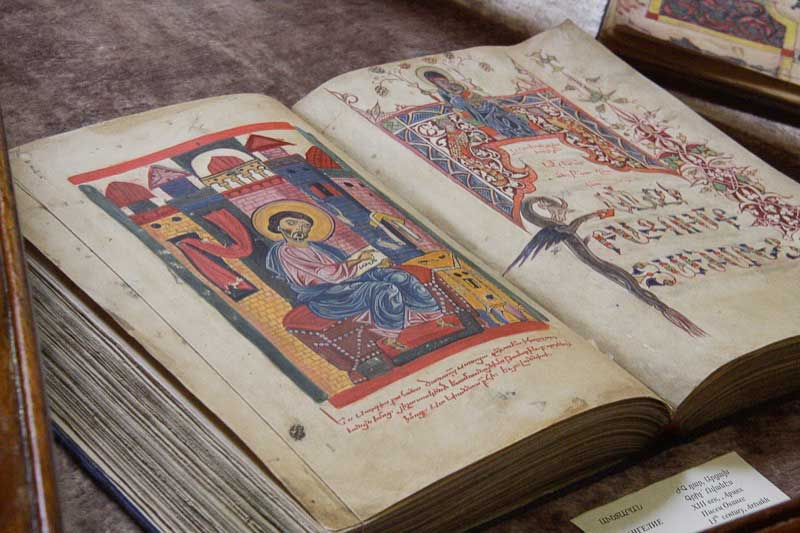 A beautiful illuminated manuscript on display inside the Matenadaran (Armenia)