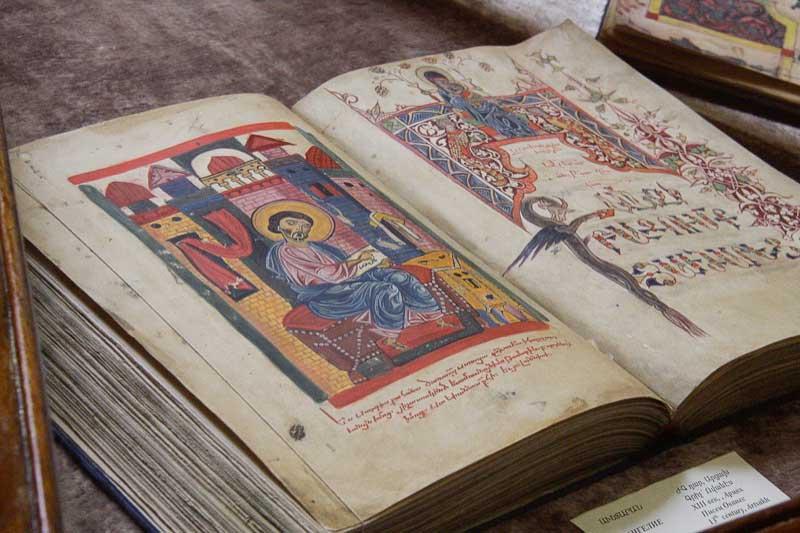 A beautiful illuminated manuscript on display inside the Matenadaran (Armenia)