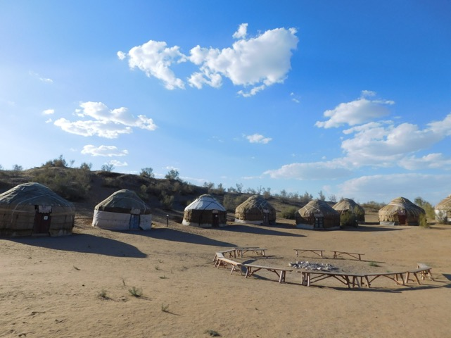 Yurts in the Kyzyl Kum are set up around the campfire pit. Photo credit: Abdu Samadov