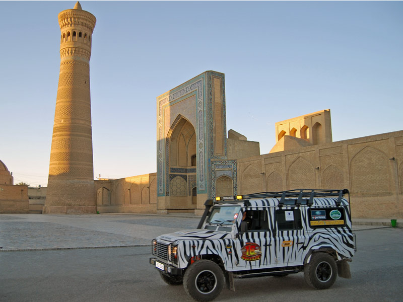 This Land Rover expedition makes a stop in Bukhara, Uzbekistan. Photo credit: Douglas Grimes