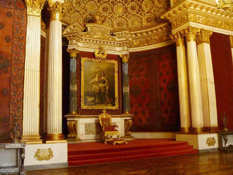 The sumptuous reds of the Peter the Great Hall (Small Throne Room) in the Hermitage. Photo credit: Liz Tollefson