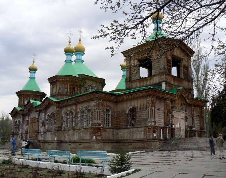 Holy Trinity Cathedral in Karakol. It is a Russian Orthodox Church made from wood and corrugated iron completed in 1895 (Kyrgyzstan). Photo credit: Martin Klimenta