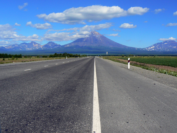 This road leads to volcano country on Russia's Kamchatka Peninsula. Photo credit: Martin Klimenta