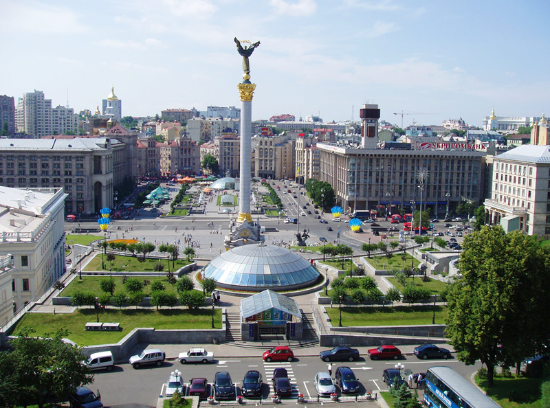 An aerial view of Independence Square in the heart of Kiev. Photo credit: Martin Klimenta