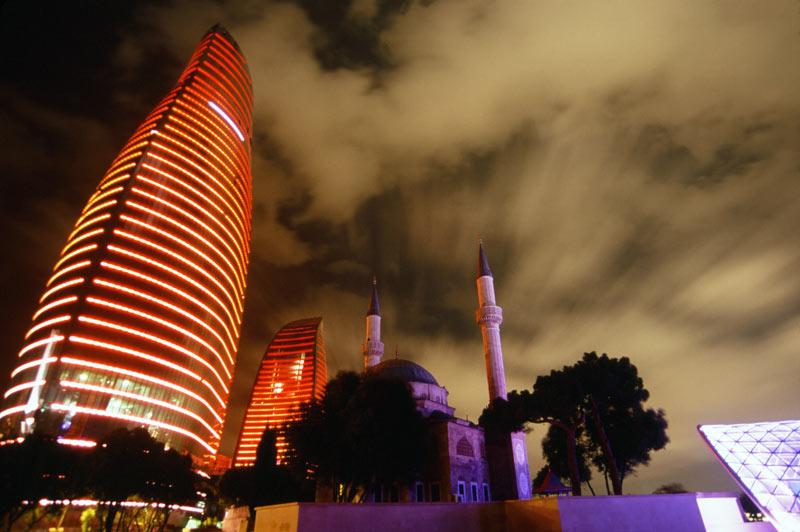 The Flame Towers alight in Baku, Azerbaijan. Photo credit: Peter Guttman