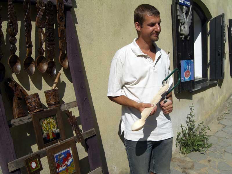 A local woodworker (Romania.) Photo: Liz Tollefson