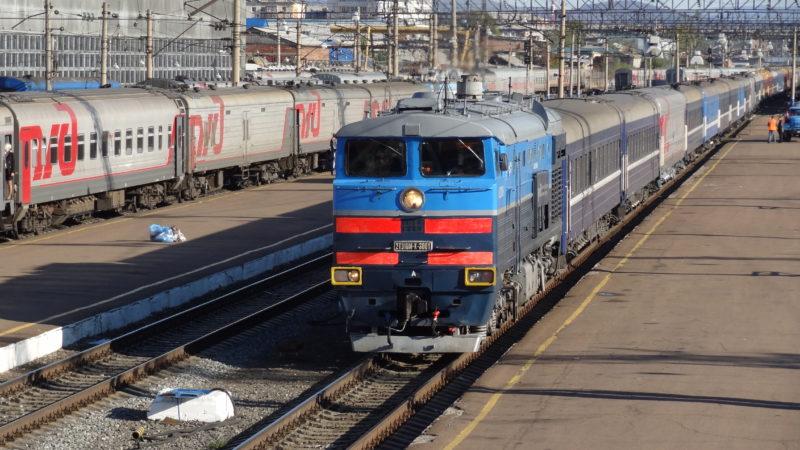 Exterior of a Russian Railways regularly scheduled train. Photo credit: Vlad Kvashnin