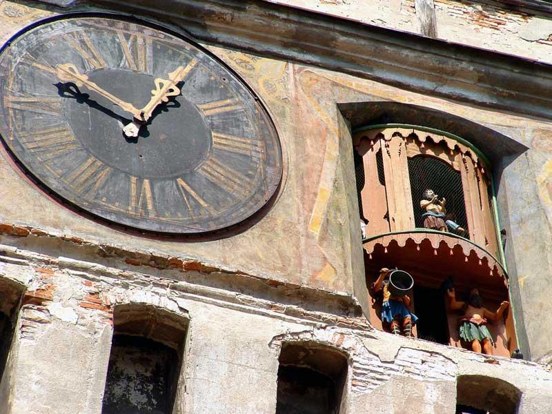 The figures in Sighisoara's Clock Tower change at midnight. Photo: MC Transylvania