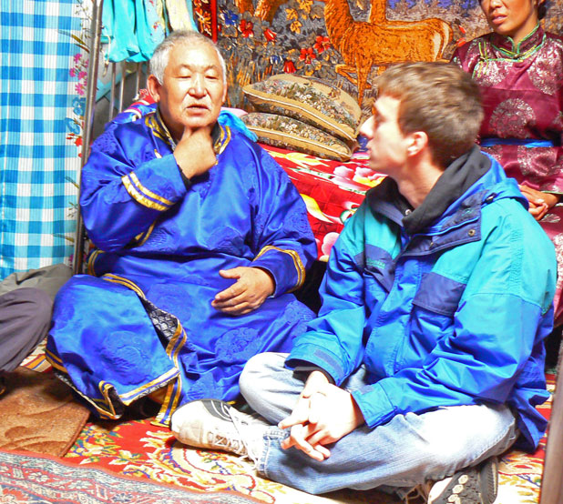Explaining how to throat-sing in Tuva, Russia. Photo credit: Martin Klimenta
