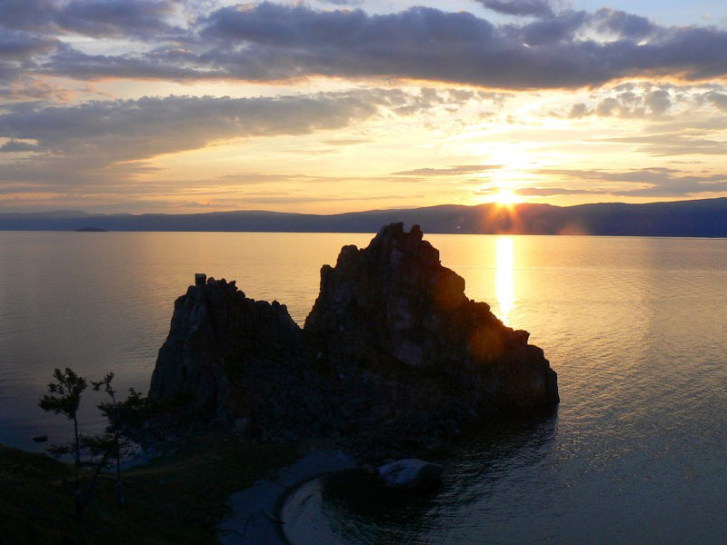 Sunset over Shaman Rock on Olkhon Island in Lake Baikal. Photo credit: Martin Klimenta