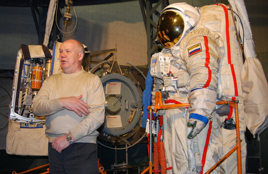 Learning about the specifics of space suits. Photo credit: Douglas Grimes