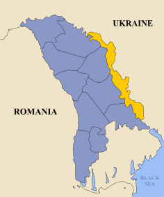 Transdniester is in bright yellow Map by Mimarik, distributed under a CC BY-SA 3.0 license