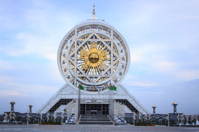 Ashgabat's Alem Cultural and Entertainment Center, site of the world's largest enclosed Ferris wheel (Ashgabat, Turkmenistan). Photo credit: Lindsay Fincher