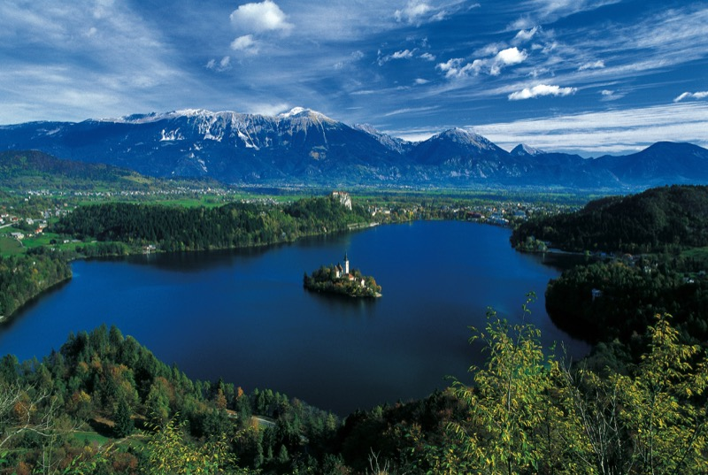 Lake Bled, located in the Julian Alps in northwestern Slovenia. Photo credit: J. Skok / www.slovenia.info