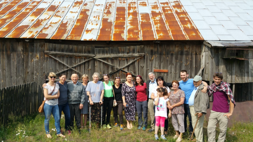 Karen's husband, Schlomo (7th from right), poses with the descendants of the Polish family that risked their lives to hide his parents. Photo: Karen Treiger