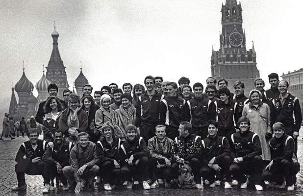 42 U.S. volleyball players and support – two men's teams and one women's – played their Soviet counterparts in 1987. Photo credit: Steve Richmond
