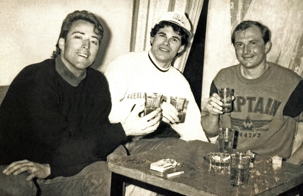 Douglas Grimes (center) shares a toast with American and Soviet friends. Photo credit: Douglas Grimes