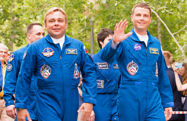 Russian Maksim Surayev and American Gregory Wiseman fly together on a 2014 Soyuz mission to the International Space Station. Photo credit: Christopher Prentiss Michel
