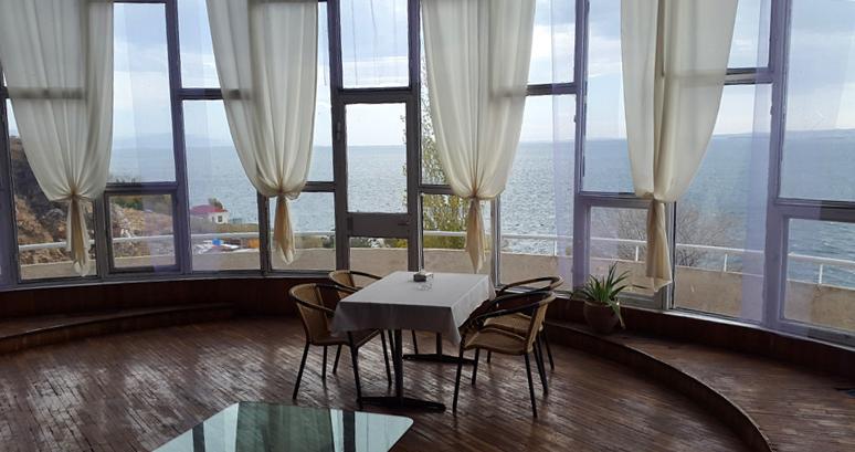 Lakeside view from the Sevan Writer's House. Photo credit: Anya von Bremzen