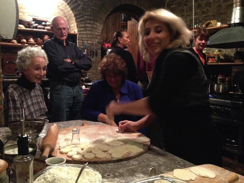 Learning to make khinkali at Pheasant's Tears Winery. Photo: Mariana Noble