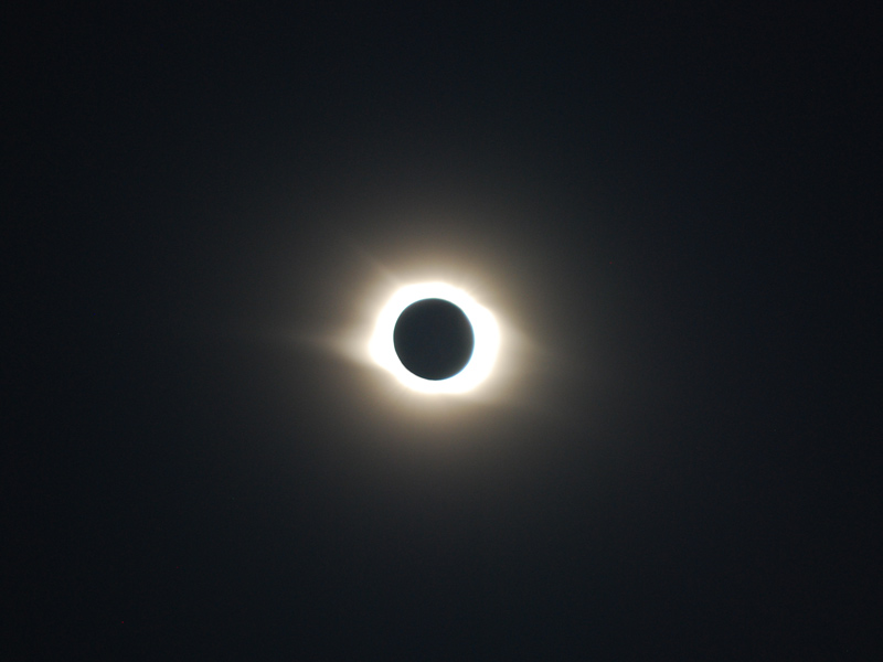 Novosibirsk, Siberia is swathed in darkness at the apex of the 2008 total solar eclipse. Photo credit: Douglas Grimes