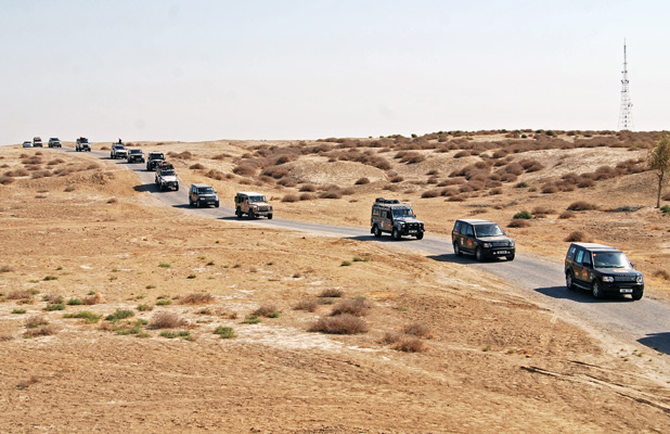 Land Rovers caravan through Turkmenistan along the Silk Road, once the exclusive domain of camels. Photo credit: Douglas Grimes