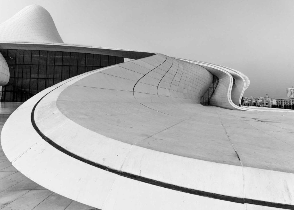 The curving, organic architecture of Zaha Hadid's amazing Heydar Aliyev center. Photo credit: Jered Gorman