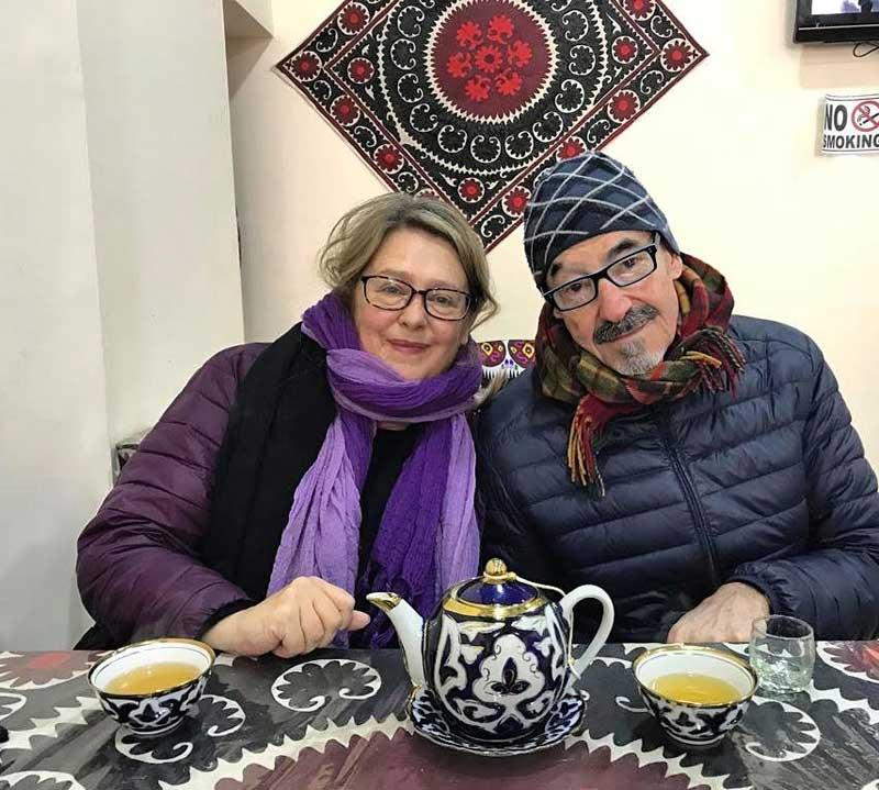 Anya and her partner enjoying some traditional Uzbek tea. Photo credit: Anya von Bremzen