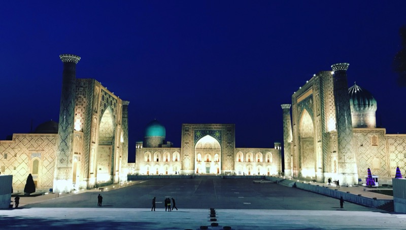 Seeing Samarkand's famous Registan Plaza at night is an otherworldly experience. Photo: Abdu Samadov
